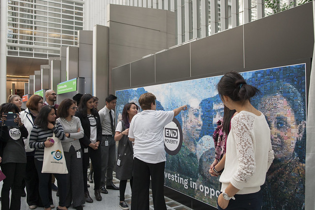 Tue, 10/17/2017 - 11:49 - October 19, 2017 - WASHINGTON DC. On End Poverty Day 2017, World Bank CEO Kristalina Georgieva joins staff to place the final piece on the #EndPovertyMosaic in the atrium of the World Bank Headquarters in Washington, DC. Photo:  World Bank / Simone D. McCourtie   Photo ID: 101717-HashtagMosaic-0038f