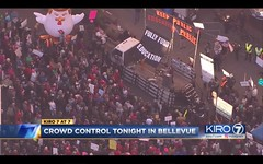 Best Kiro helicopter shot of Betsy Devos rally