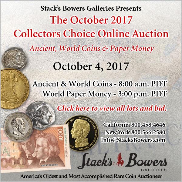 Stacks-Bowers E-Sylum ad 2017-10-01