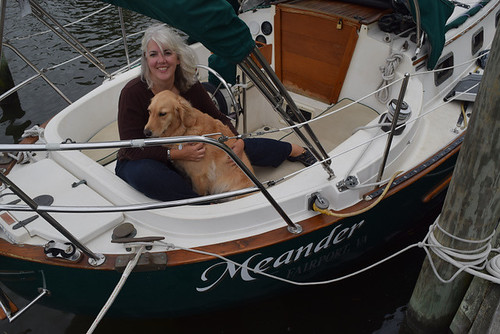 Pamela and Honey in the cockpit of Meander at the dock. Pamela Douglas Webster: #StudyAbroadBecause It Makes Your World Big