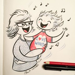 #inktober day 29 - One of the best moments so far in this journey of mamahood - Robson demands that I hold her and dance enthusiastically to #Coldplay, and Coldplay alone! The laughter and squeals of joy to be heard are straight from heaven. :heart:️:tada