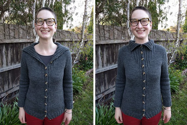 Woman stands against garden fence. She wears a grey handknit cardigan.