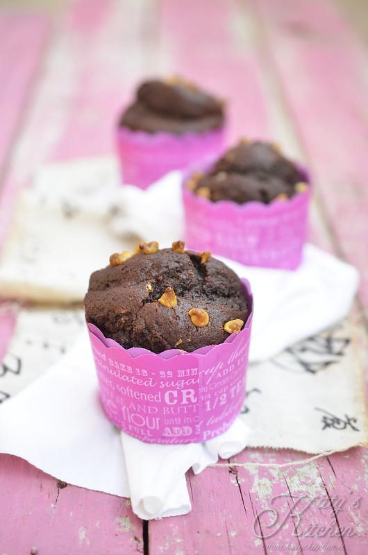 muffin al cacao e cioccolato bianco