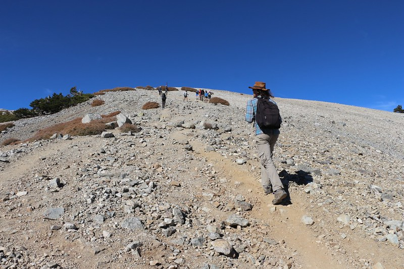 The final steep climb to the summit of Mount Baldy on the Devils Backbone Trail