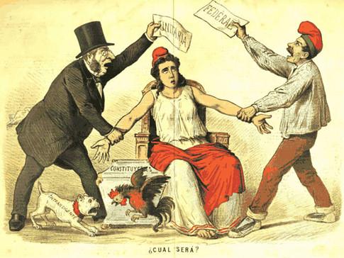 17j10 Revista satírica La Flaca 3 marzo 1873 Pugna entre radicales unitarios y federales de diversas tendencias Variante Uti 485