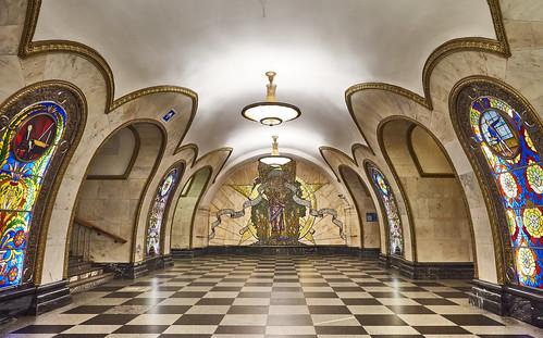 Novoslobodskaya Metro Station - Moscow, Russia