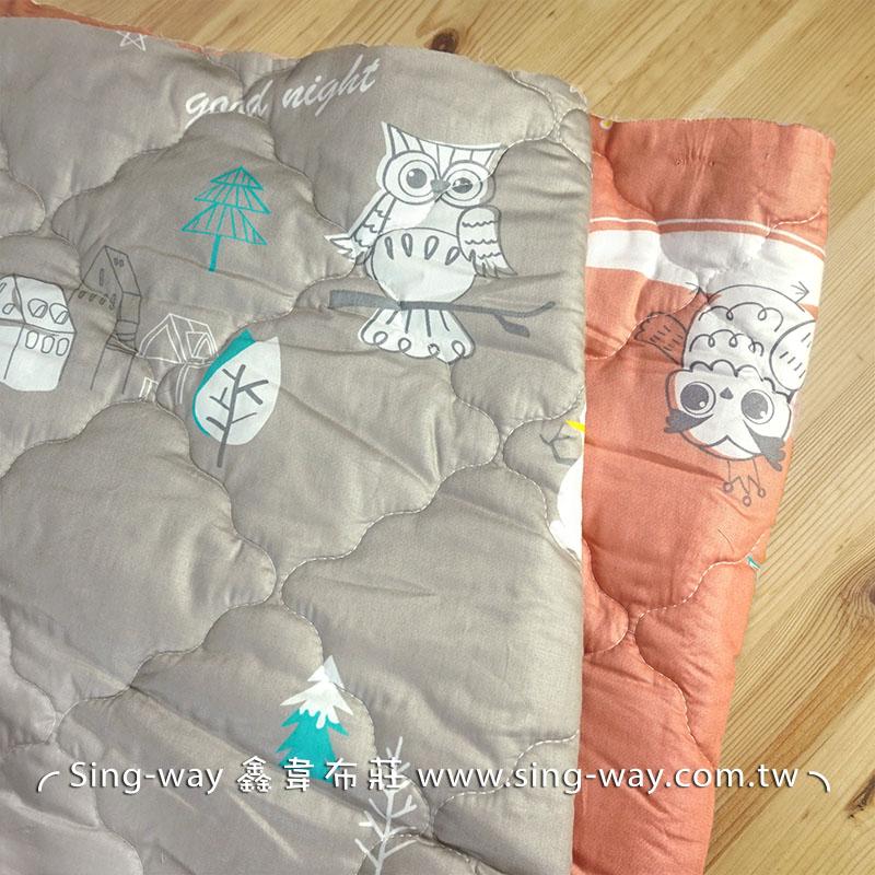 【限宅配】 可愛貓頭鷹 動物 精梳棉鋪棉床品床單布料 B990092