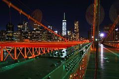 NYC by night. Red & Green of Brooklyn Br