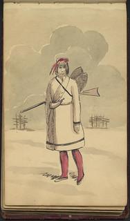 First Nations man with a rifle and snowshoes / Homme des Premières Nations avec un fusil et des raquettes