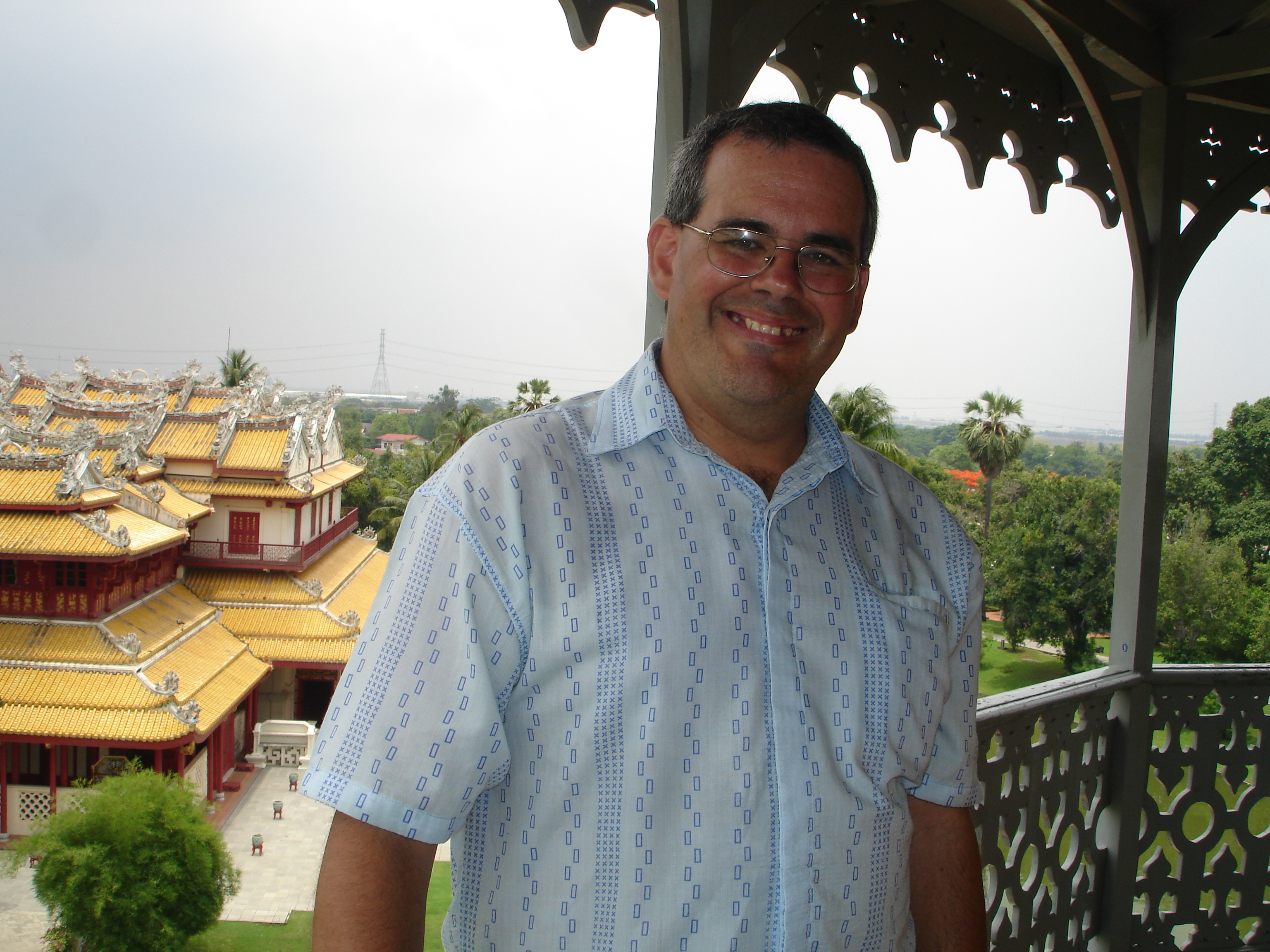 Mark Jochim (me!) in the Sages' Lookout at Bang Pa-In Royal Palace. Photo taken by either my ex-wife or former step-daughter on May 16, 2006.