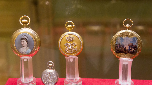 Three Golden Pocket watches at Egypt's Royal Jewelry Museum
