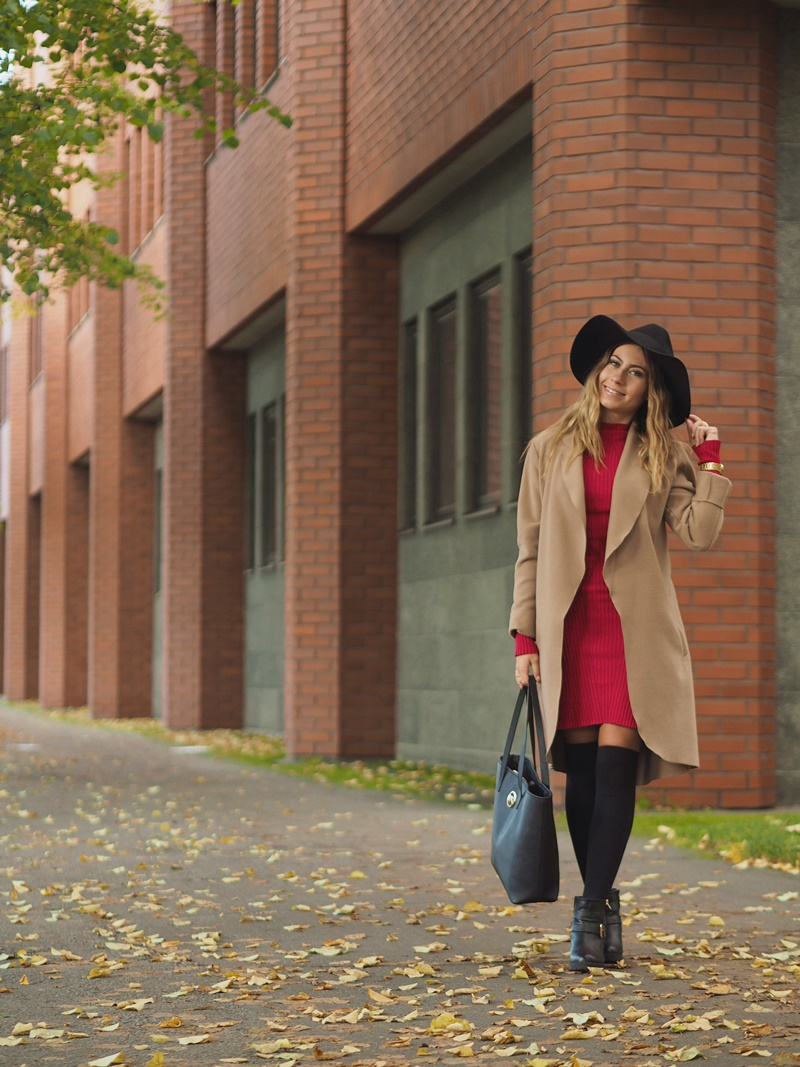 camel-coat-vila-red-knit-dress-bikbok