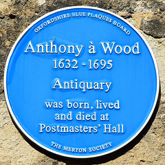 Photo of Anthony à Wood blue plaque