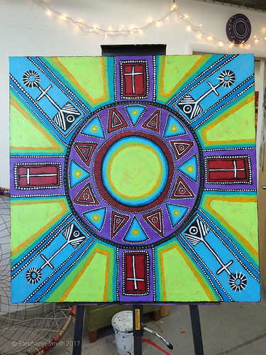"Expressive mandala painting: ""Community"""