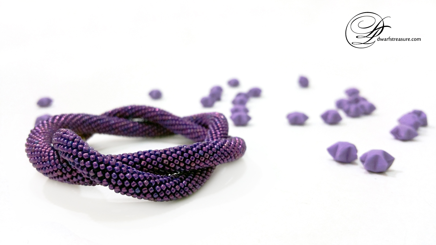 amazing ultraviolet  metallic beaded crochet necklace and origami paper lucky stars