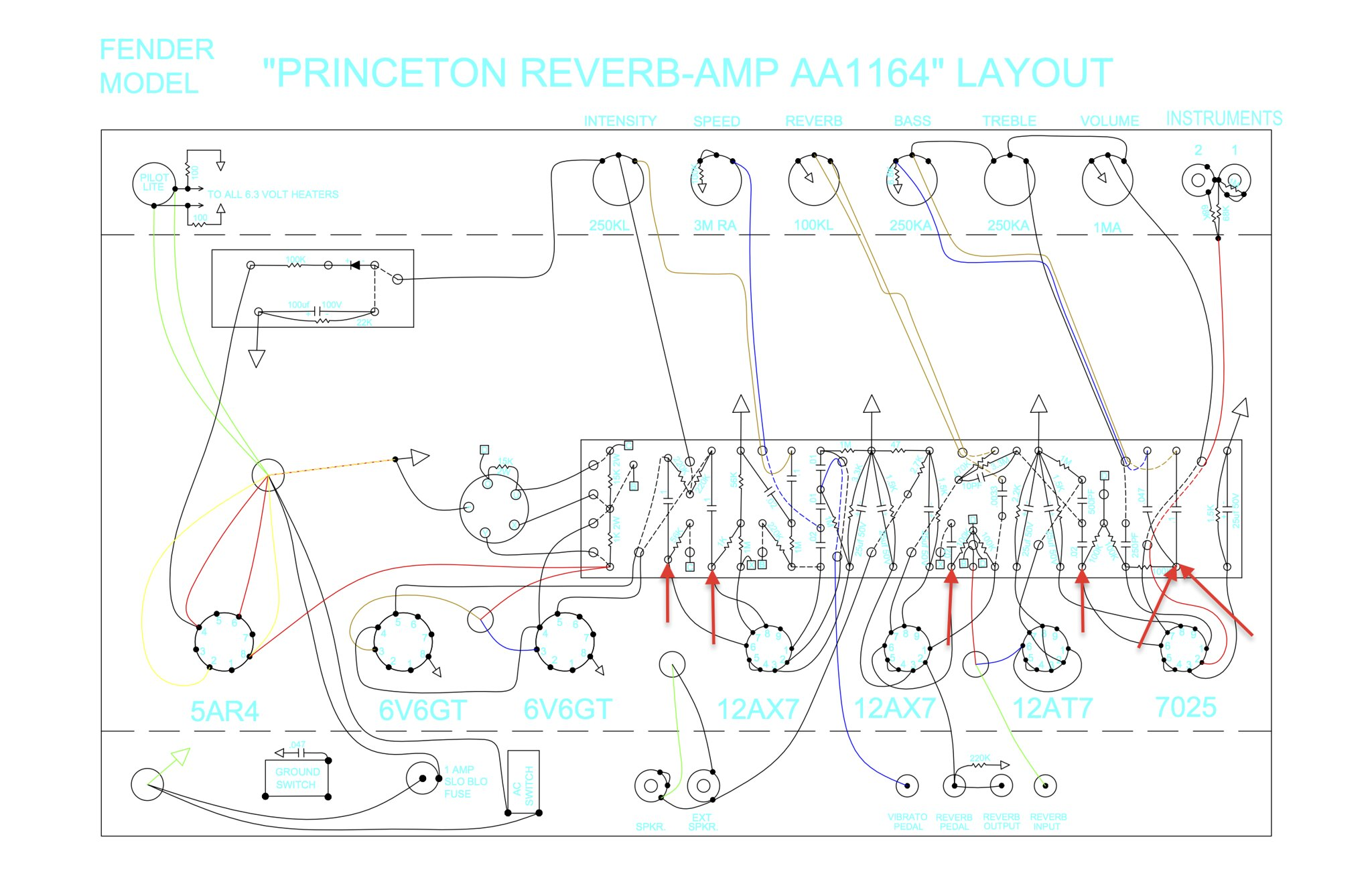 princeton reverb build (blackface) the gear page fender princeton wiring diagram i have indicated with red arrows in the wiring diagram, which side i plan to put the \