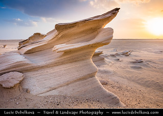 United Arab Emirates - UAE -  Al Wathba Fossil Dunes Sandstone Formations in Desert during Sunset