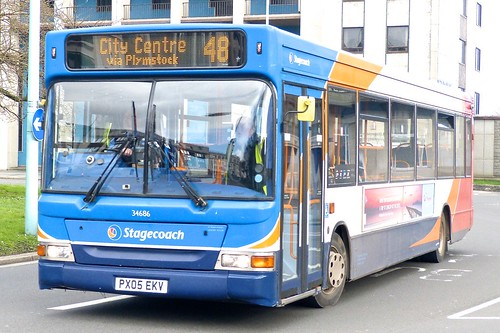 PX05 EKV 'Stagecoach South West' No. 34686 Dennis Dart SLF / Plaxton Pointer on 'Dennis Basford's railsroadsrunways.blogspot.co.uk'