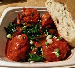 turkey meatballs with braised greens in Korean gojuchang sauce The Meatball Bar