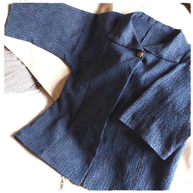 麻の七分袖ジャケット