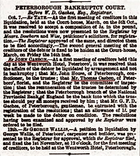 Stamford Mercury 14Oct1870 John Casbon bankruptcy court