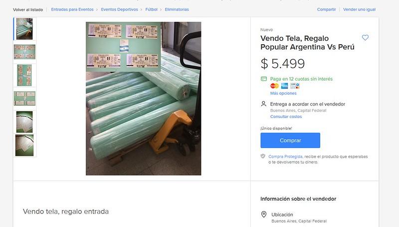 Reventa Argentina-Perú telas