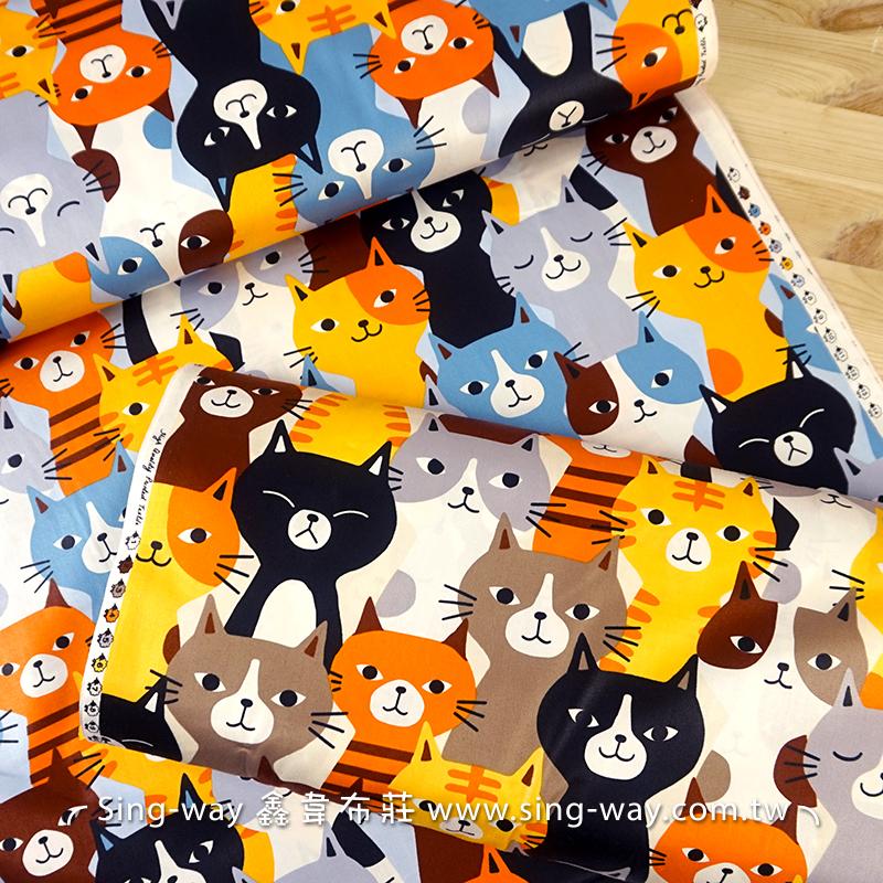 大卡通貓  寵物貓 米克斯 小喵喵 精梳棉床品床單布料 CA490364