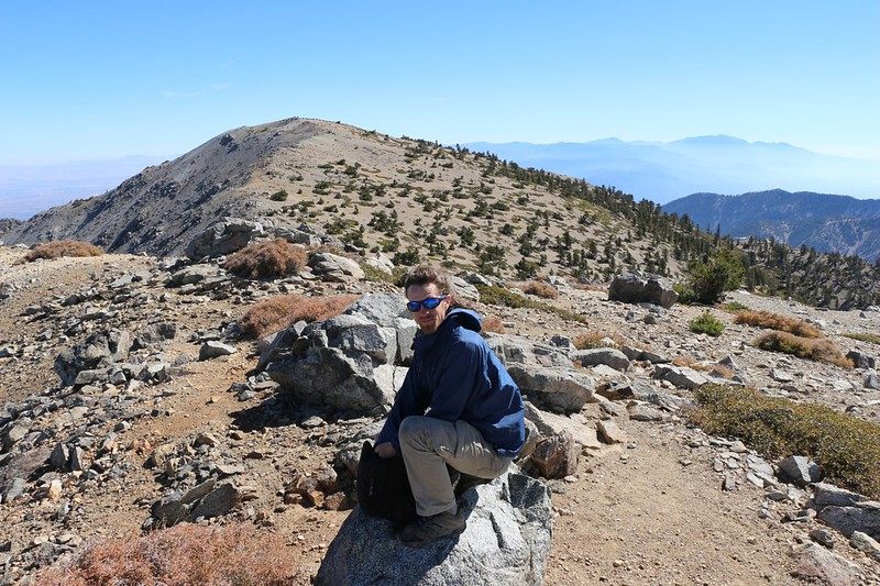 Taking a short break on West Baldy, with Mount Baldy off to the east