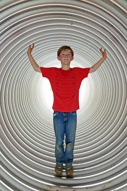 Inside a Corrugated Pipe