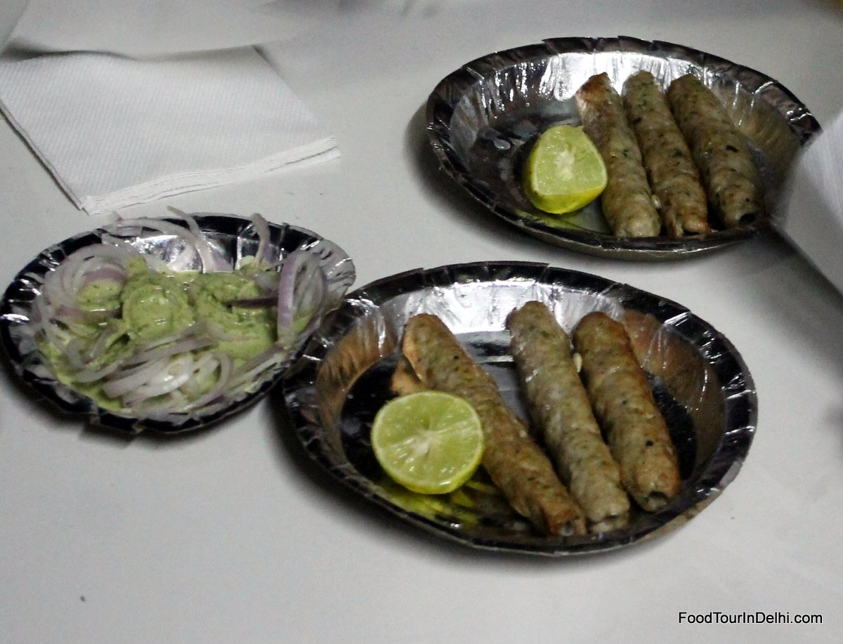 Kakori Kababs with mint chutney and onions
