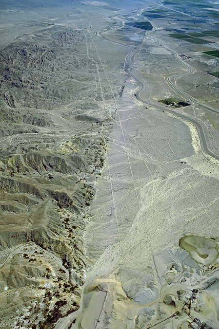 Aerial view of the San Andreas Fault and the Indio Hills, Indio and Coachella, Riverside County, California