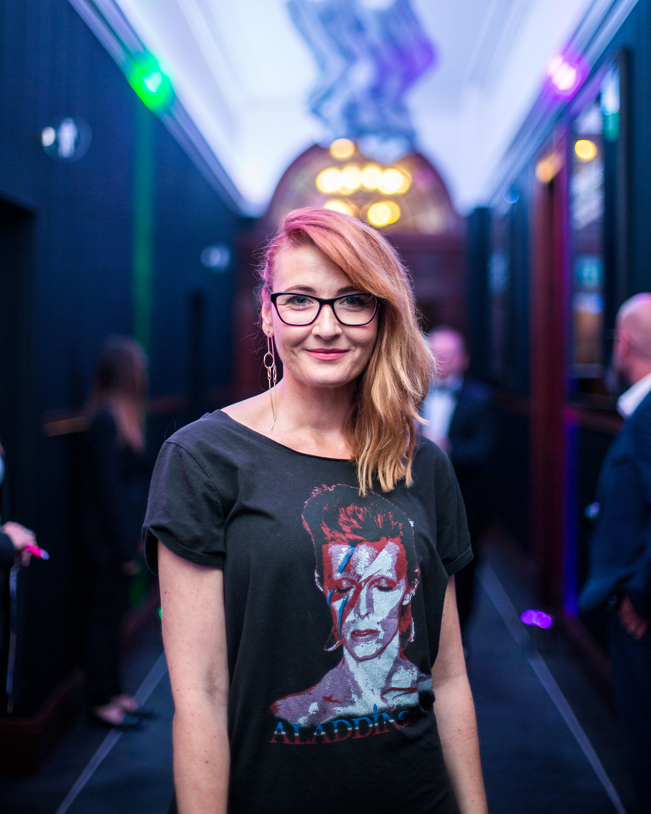 Specsavers SWOTY 2017: Evening/cocktail date night outfit - David Bowie rock t-shirt tee \ black sequin trousers \ bright orange pointed heels | Not Dressed As Lamb, over 40 style (photo by Luke Jackson-Clark)