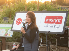 Insight host Beth Ruyak speaking to the crowds at Capital Public Radio's Second Saturday event.