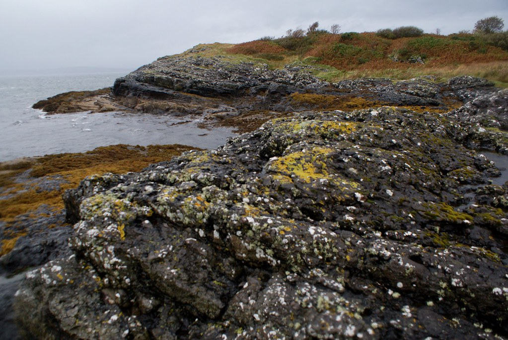 Rochers couverts de lichens dans les alentours d'Oban en Ecosse.