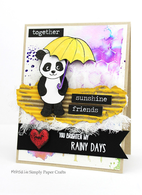 Meihsia Liu Simply Paper Crafts Mixed Media Card Panda Simon Says Stamp Monday Challenge 1