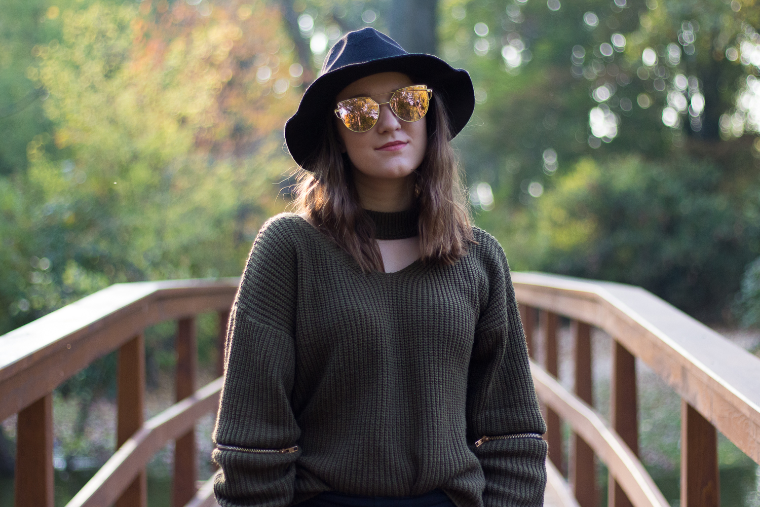 green zaful sweater hat autumn fall