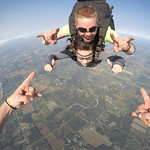 Rocking it out in freefall with tandem instructor Nate Plumb