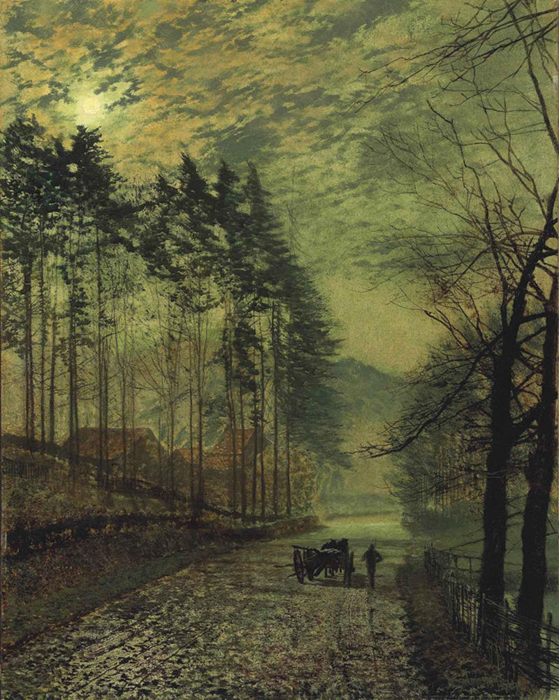 Near Hackness, a moonlit scene with pine trees by John Atkinson Grimshaw, 1875