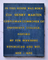 Photo of Henry Marten black plaque