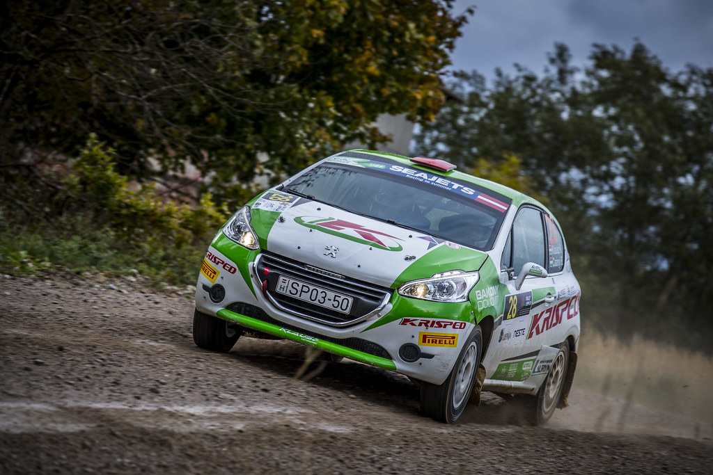 28 Klausz Kristóf and Csányi Botond, Klaus Motorsport, Peugeot 208 R2 ERC Junior U27 action during the 2017 European Rally Championship ERC Liepaja rally,  from october 6 to 8, at Liepaja, Lettonie - Photo Gregory Lenormand / DPPI