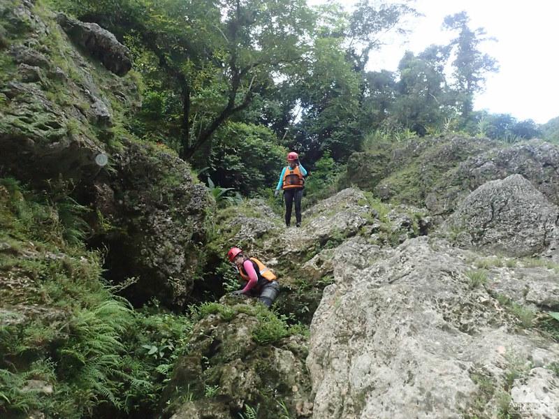 Slippery boulders