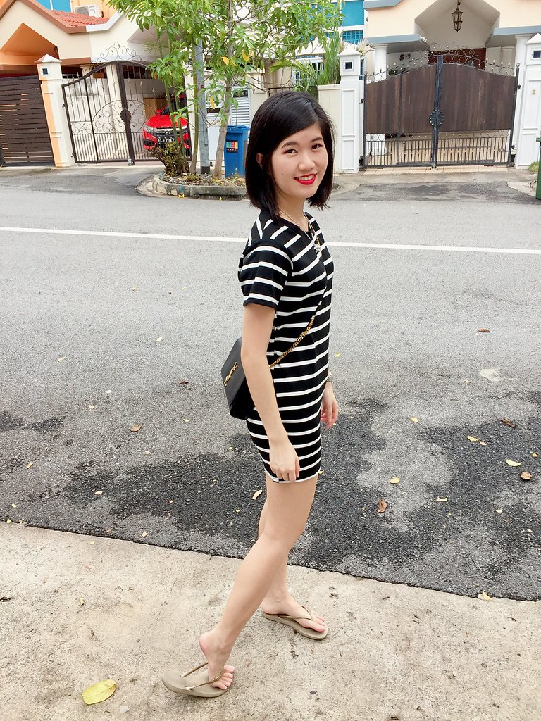 Casual black stripes dress with slippers