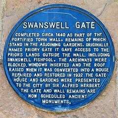 Photo of Swanswell Gate black plaque