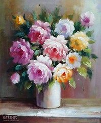 Roses in a White Pot, Art Painting / Oil Painting For Sale - Arteet™