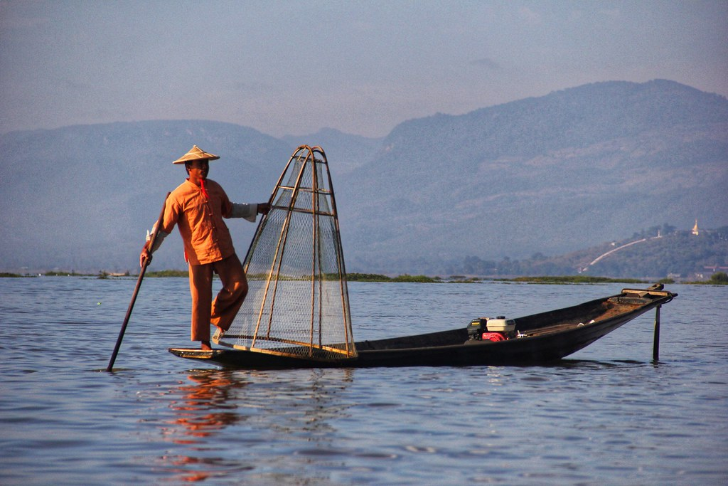 I managed to sneak a shot before he posed for the next lot of passing tourists, Inle Lake