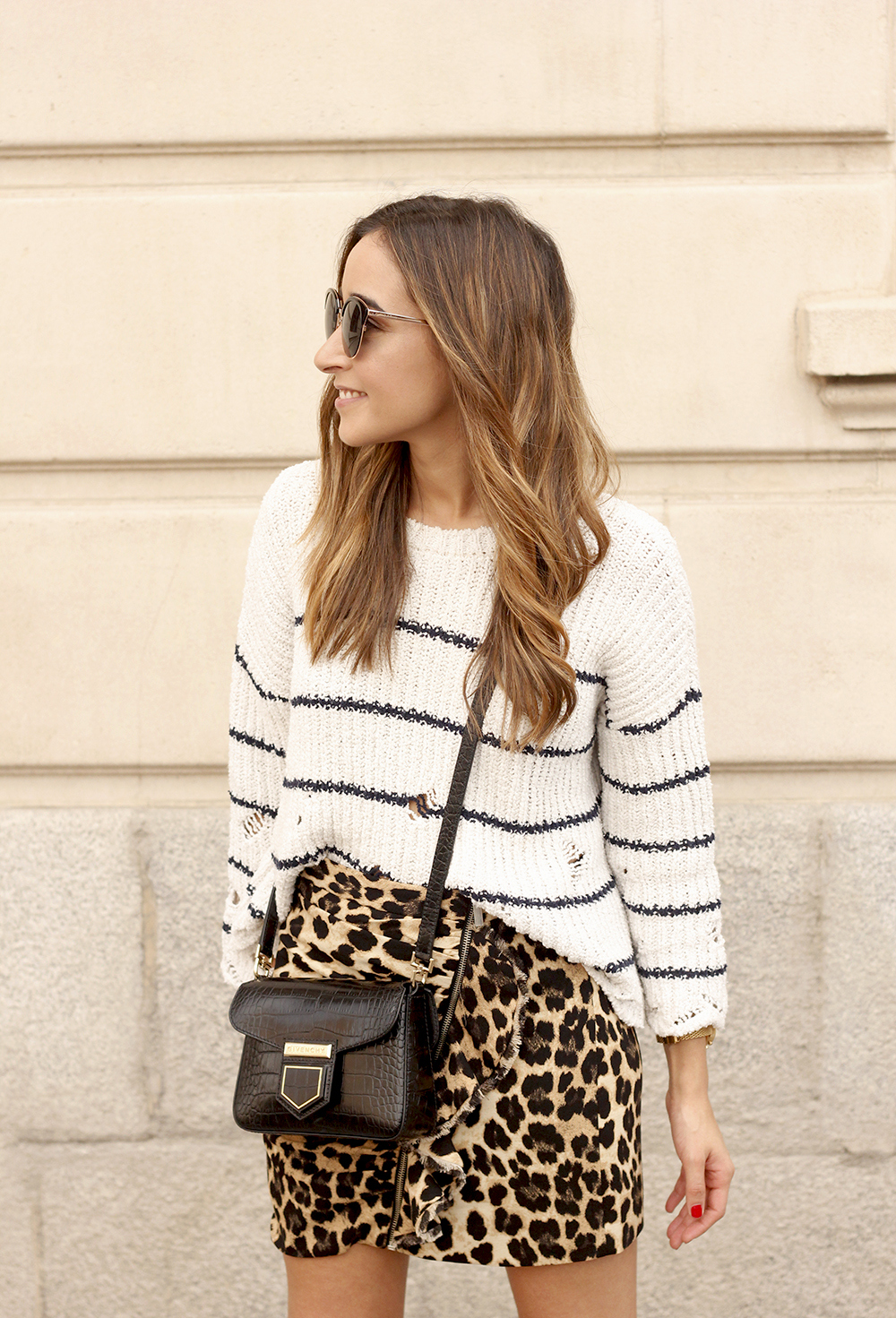 leopard printed skirt striped sweater givenchy bag outfit fashion style trend13