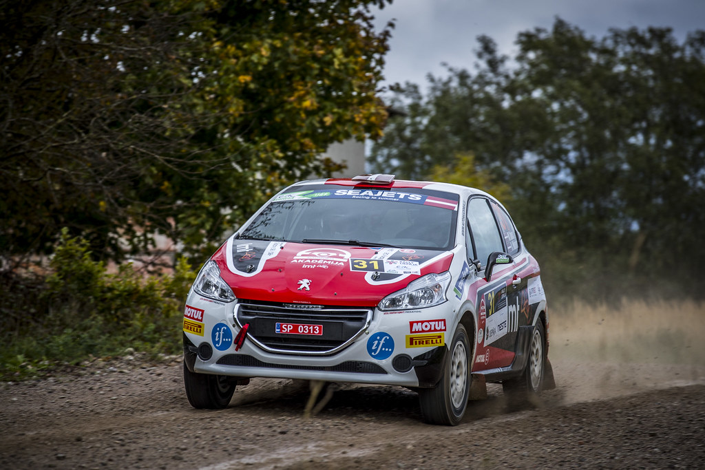 31 Sesks Mārtiņš and Mālnieks Andris, LMT Autosporta Akadēmija, Peugeot 208 R2 ERC Junior U27 action during the 2017 European Rally Championship ERC Liepaja rally,  from october 6 to 8, at Liepaja, Lettonie - Photo Gregory Lenormand / DPPI