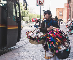 Mexican woman selling handcrafts