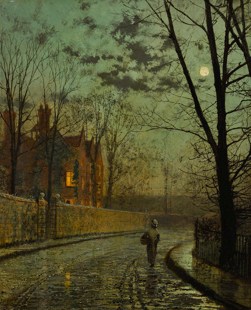 Street after the Rain in the Moonlight by John Atkinson Grimshaw