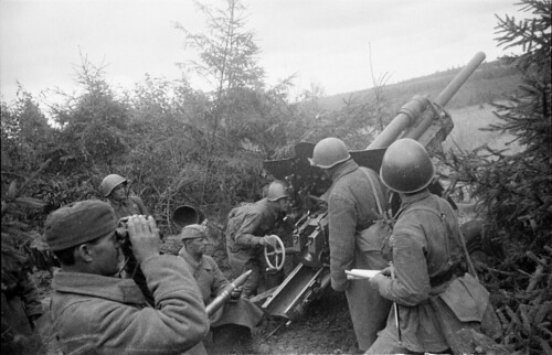 Soviet 76-mm divisional gun model 1939 (USV)  firing from camouflaged positions